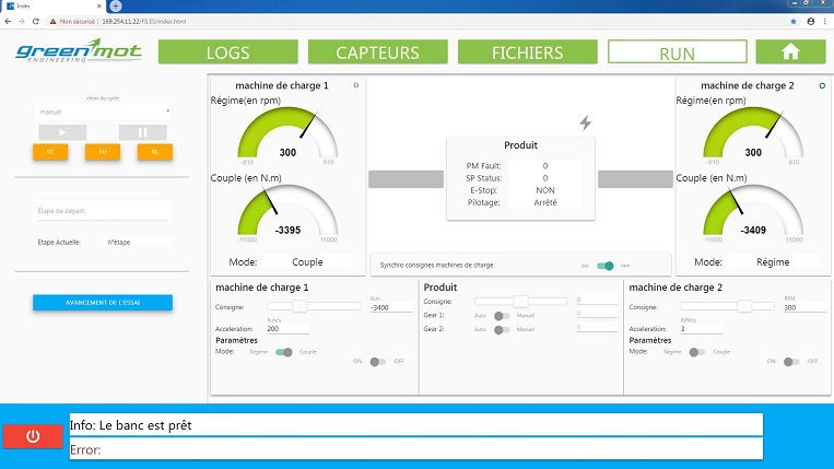 HMI e-bench for test management