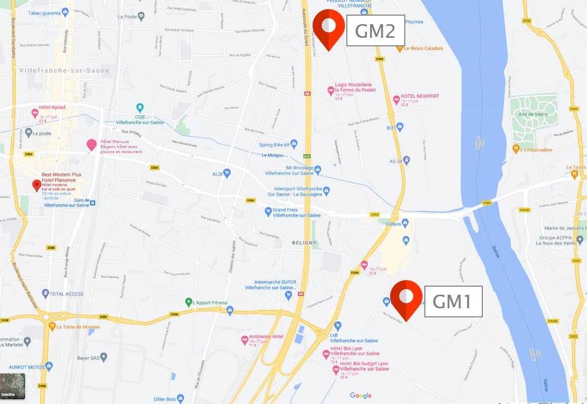 carte emplacements hôtel Villefranche